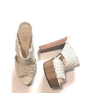 Shoes - WO MILANO White Weaved Platform Heels